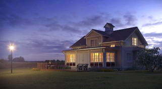 Picture of country style home at dusk in peaceful setting
